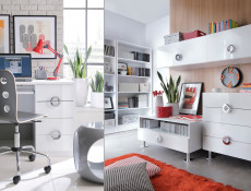 Modern Small Narrow Bedroom Chest of Drawers Storage Unit 4-Drawer 50cm White Gloss - Ringo (S61-KOM4S/5/8-BAL/BIP-KPL01)