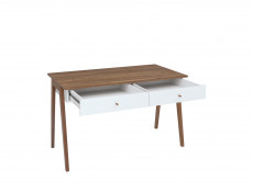 Scandi Compact White Gloss Console Table Laptop Desk 2-Drawers Wooden Legs - Heda