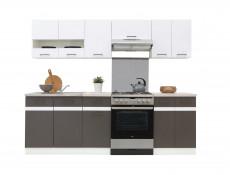 Modern Free Standing Corner Kitchen Cabinet 1000 Base Unit 100cm Left Grey/White Gloss - Junona