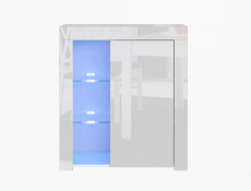 Modern White Gloss Glass Display Cabinet & TV Unit Media Stand with RGB Multicolour LED Lights - Lily
