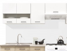 Free Standing White Gloss/Oak Kitchen Cabinets Cupboards Set 7 Units - Junona