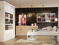 Modern Oak Finish Double Bed Frame with Storage Shelving and Drawers Sonoma Oak - Nepo (S435-LOZ3S-DSO+OPCJA-DSO+WKL140/L16-BK)