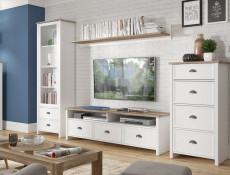 Wide TV Cabinet Stand Media Unit 3 Drawers 2 Open Shelves in White / Oak Finish - Cannet