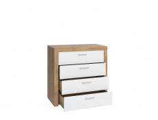 Modern Living Room Chest of 4 Drawers Cabinet Storage Unit Oak/White Gloss - Balder