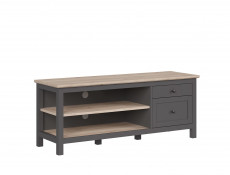 Modern TV Cabinet Media Storage Unit with Drawers Country Grey/Oak Effect - Bocage  (S503-RTV1D1S/7/16-GF/DSAJ-KPL01)
