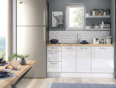 Modern White High Gloss Kitchen Cabinets Cupboards Set of 3 Base Units Complete Modular 240cm - Rosi (STO-ROSI_BASE_UNIT_SET-3UNITS_2.4-BI-BIP)