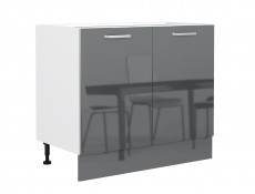 Free Standing Grey Gloss Kitchen Base Cabinet Unit Cupboard 100 cm 1000mm - Modern Luxe