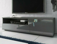 Modern Grey Gloss TV Cabinet Stand Media Entertainment Unit with Drawer - Muza