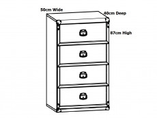 Modern Slim Chest of 4 Drawers Bedroom Storage Unit Tallboy in Dark Oak Effect Finish - Indiana