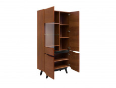 Retro Tall 4-Door Display Cabinet LED Lights Glass Storage Unit Living Room Brown Oak - Madison