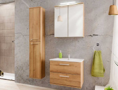 Modern Wall Hung Tall Bathroom Cabinet Tallboy Unit Oak Finish 160cm - Remik