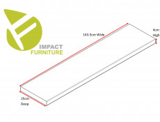 Modern Long Shelf Floating Wall Mounted 143.5cm in White Matt FInish - Kaspian (S128-POL/140-BI-KPL01)
