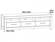 Modern Media Bench Entertainment Stand TV Cabinet Storage Unit 200cm  3 Drawers Medium Oak Effect - Gent (S228-RTV3S/6/20-DAST-KPL01)