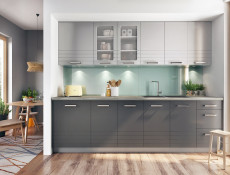 Light Grey Kitchen Wall Cabinet with Glass Doors 80cm Cupboard 800 Display Unit - Paula (STO-PAULA-WS80-GR/DOVE-KP01)