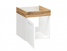 Modern 500mm Vanity Unit Wall Mounted Bathroom Cabinet White Gloss / Oak finish with Sink - Aria