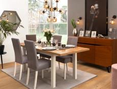 Scandinavian Dining Room Extending Dining Table 160-200cm White/Oak finish - Holten