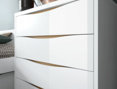Modern Chest of Drawers White Gloss Oak finish Storage Unit - Pori (L87-KOM4S1E-BIP/DP-KPL01)