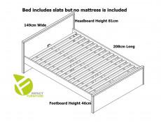 Modern White Gloss Headboard White Matt Sides European Double Bed Frame 140cm with Wooden Bed Slats - Pori