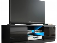 Top E Gloss  - TV Cabinet Unit with LED Glass Shelf Black High Gloss (RTV120BlackGlossLED)