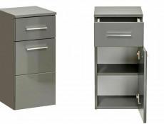 Modern Grey Gloss Bathroom Furniture Set 60cm Vanity Sink Unit Wall Cabinet Storage Mirror - Twist (TWIST-GREY-SET-WITH-840)