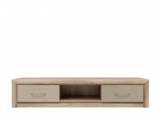 Wide TV Cabinet Stand Unit 2 Drawers Beige Gloss & Oak finish - Koen 2