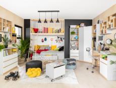 Modern Chest of 3 Drawers with Open Shelving Storage Kids Bedroom White Gloss/Grey/Oak Emoji Comic - Nandu