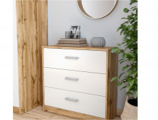 Modern Large Chest of 3 Drawers Storage Unit 80cm White Matt/Oak finish - Matos (S414-KOM3S-DWO/BI)