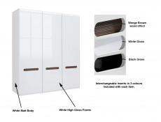 White High Gloss Three Door Triple Wardrobe Hanging Rail Shelves & White Gloss/Wenge Dark Wood Effect/Black Gloss inserts - Azteca Trio (S504-SZF3D/21/18-BI/BIP-KPL01)