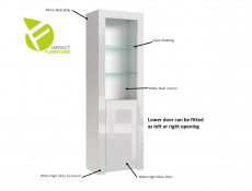 Modern White High Gloss Glass Display Cabinet Set: Tall & Compact Bookcase Units with Glass Shelving - Lily
