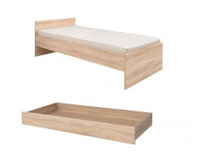 Single Bed Frame & Storage Drawer in Sonoma Oak - Academica