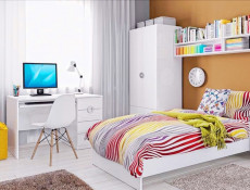 Modern Single Bed Frame with Bed Slats & White Gloss Headboard - Ringo