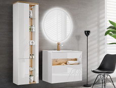 Modern White Gloss Wall Hung Bathroom Tall Cabinet Storage Unit with LED Light Glass Shelves - Bahama (BAHAMA_800 _WHITE)