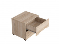Sleek Modern Bedside Cabinet Table Two Drawer Unit in Light Oak Effect Finish - Elpasso