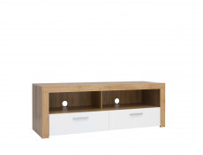 Modern Compact TV Cabinet Media Bench Drawer Stand Storage Unit Oak/White Gloss - Balder