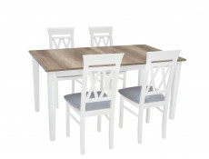 Cross Back White Solid Wood Dining Chair Straight Legs Grey Padded Seat - Cannet