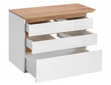 Modern Wall Vanity Bathroom Cabinet Countertop Unit with Drawers White/White Gloss Oak - Platinum