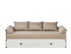 Modern Solid Sofa Bed Converts to King Size Bed in White Pine Wood Effect Finish - Indiana (S31-JLOZ80/160-SOC-KPL01)