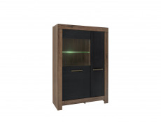Wide Glass Display Cabinet with LED Light - Balin