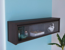 Modern Wall Glass Cabinet Wenge Dark Wood - Kaspian (S128-SFW1W/140-WE/WE-KPL01)