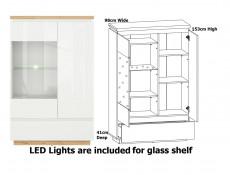 Modern White Gloss / Oak Effect Finish Living Room Furniture Display and Storage Set with Soft Close and LEDs - Erla (S426-ERLA_LIVING-SET)