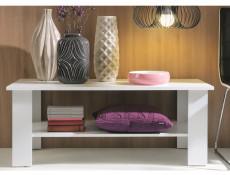 Modern Wide 115cm Coffee Table Rectangular with Shelf in White Matt Effect Finish - Nepo (S435-LAW/115-BI-KPL01)