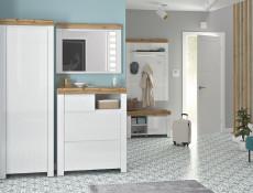Scandinavian Tall Cabinet Slim Single Wardrobe Storage Hallway Unit White Gloss/Oak - Holten