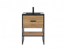 Modern Industrial Loft Vanity Bathroom 600 Cabinet Sink Unit 60cm Free Standing Oak Black Metal Frame - Brooklyn