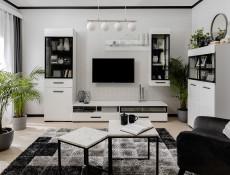 Modern White Gloss Double Wardrobe 2-Door Cabinet Storage Unit with Extra Shelving Insert  - Assen (S513-SZF2D+WKSZF-SET-KPL01)