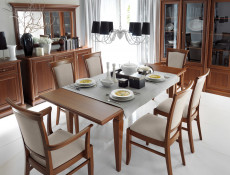 Dining Chair with Armrests Traditional Dining Room Furniture Chestnut Finish - Kent (D09-TXK_EKRS_P-TX017-1-TK1323)