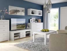 TV Cabinet in White Gloss - Mezo (RTV2S/5/14)
