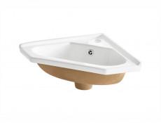 Vanity Cabinet Corner Unit Wall Mounted Bathroom with Ceramic Sink White Matt/White Gloss - Finka (FINKA_824_WHITE+CFP-9068/CL3110)