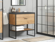 Modern Industrial Oak/ Black Vanity Bathroom Cabinet Drawer Sink Loft Unit Free Standing 60cm - Brooklin