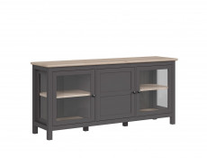 Modern Large Sideboard Glass Lowboard Display Cabinet Storage Unit Country Grey / Oak Effect - Bocage