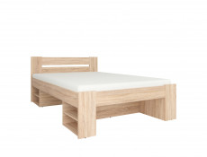 Storage Double Bed Frame in Wenge, White or Sonoma Oak Finish with Wooden Slats- Nepo (S435-LOZ3S-DSO-KPL01)